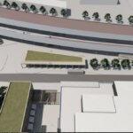Vizualizace nádraží z pohledu od obchodní galerie.