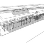 Skica budovy nádraží při pohledu od města.
